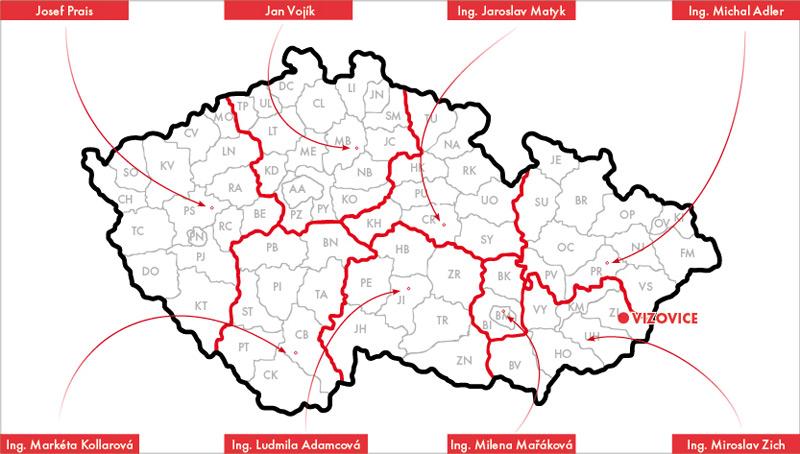 Mapa regionálnych zástupcov