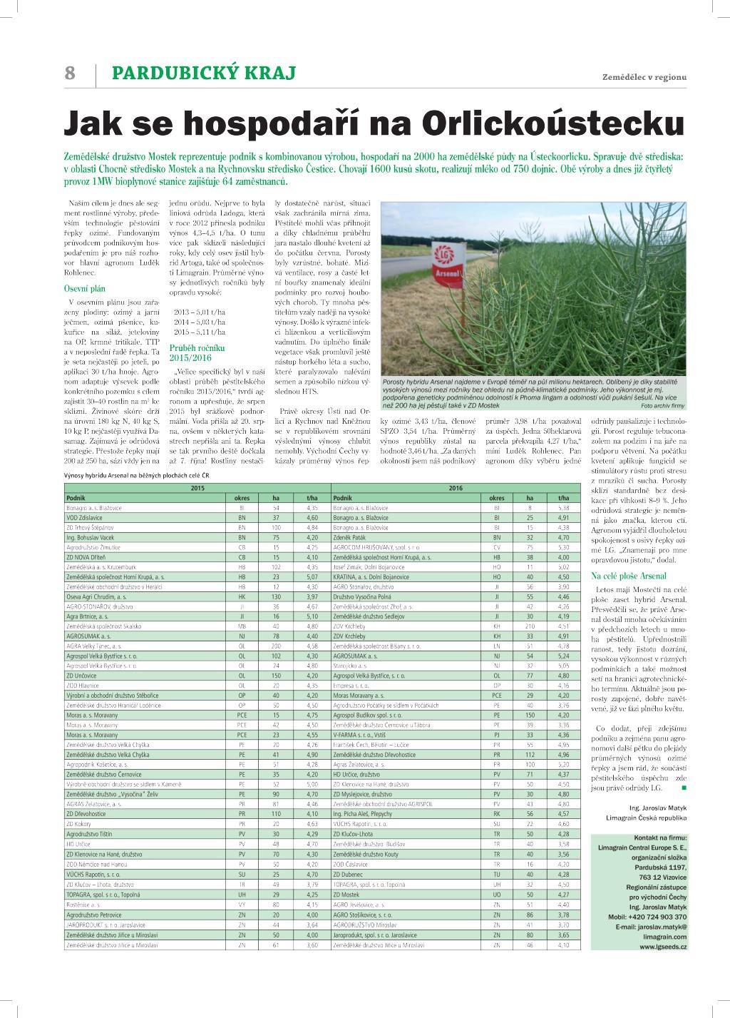 2017 CZ JM Mostek_Zemědělec v regionu_Pardubický