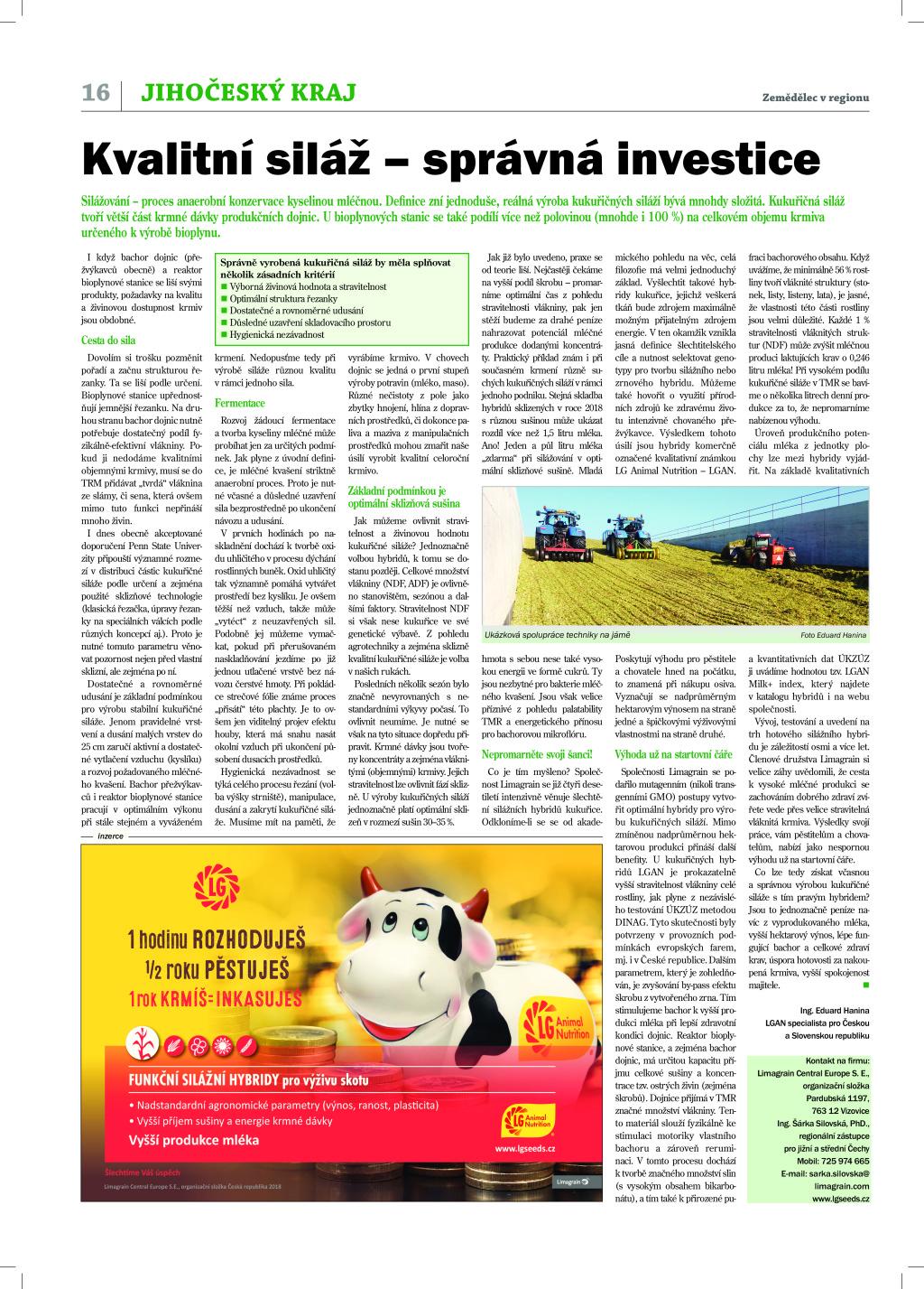 2019 CZ EH silážování Zemědělec v regionu_jihočeský
