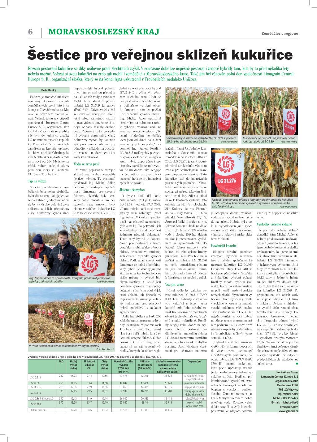 2017 CZ MA šestice pro veřejnou sklizeň kukuřice