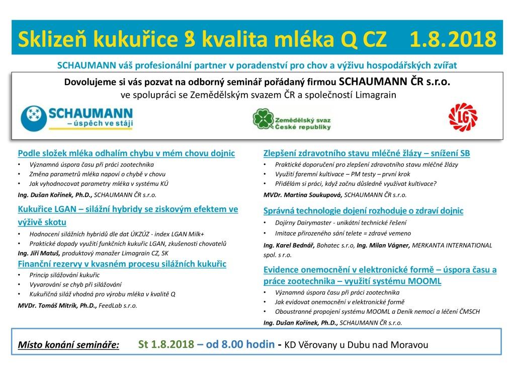 2018 CZ Schaumann Pozvánka kukuřice Věrovany