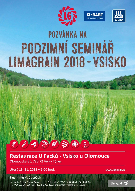 Limagrain pozvánka na Podzimní seminář Vsisko 2018